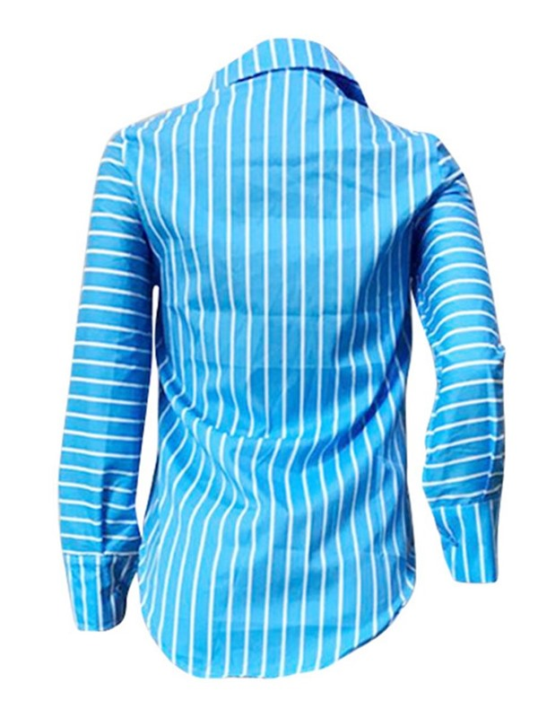 Button Stripe V-Neck Long Sleeve Women's Blouse