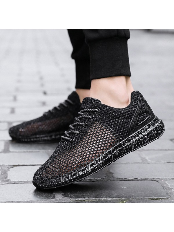 Simple Lace-Up Mesh Men's Sneakers
