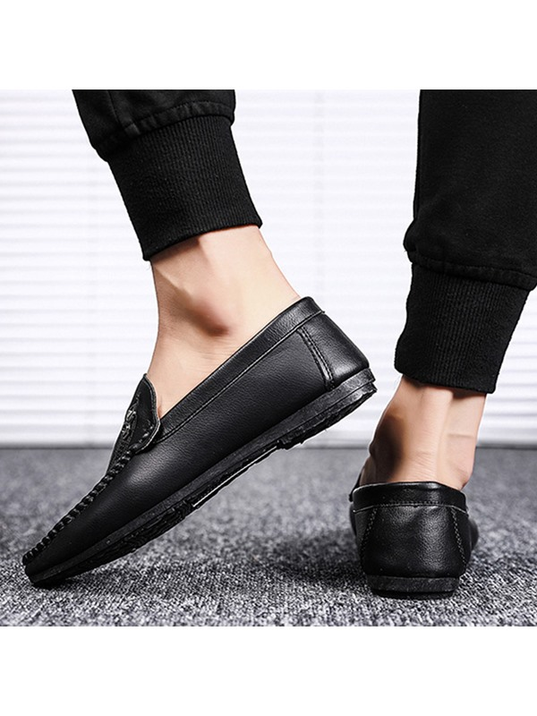 Plain Low-Cut Upper Slip-On Soft Leather Men's Loafers
