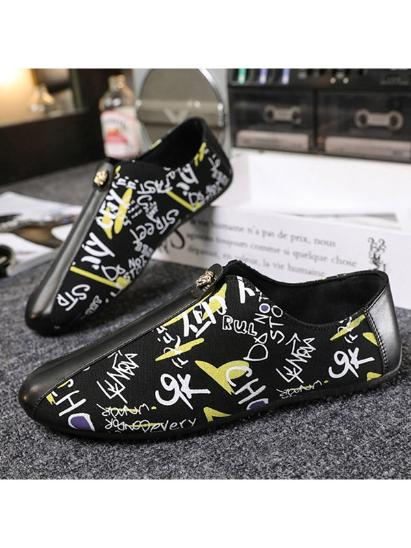 Slip-On Color Block Round Toe Men's Casual Shoes
