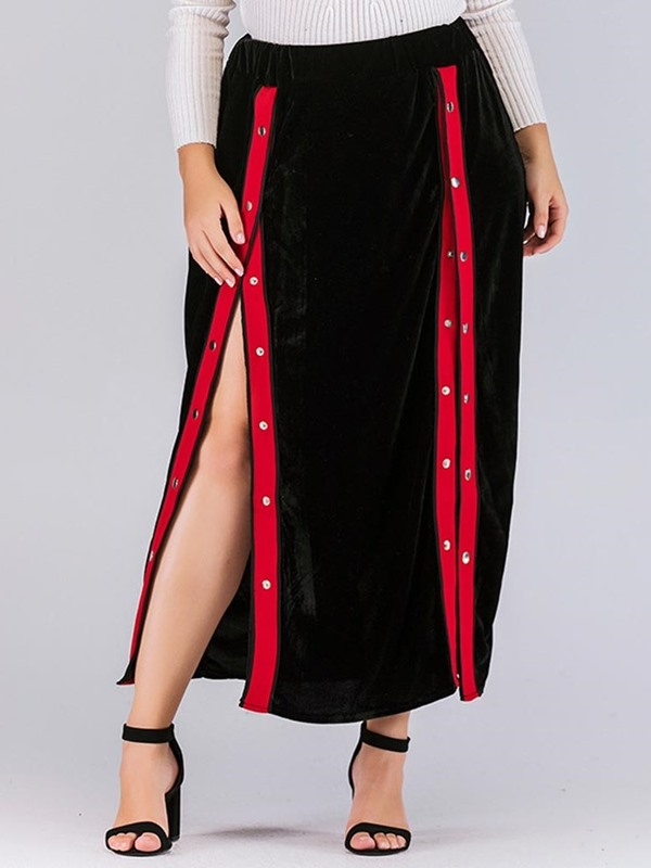 Asymmetrical Plus Size Bead Office Lady Women's Skirt