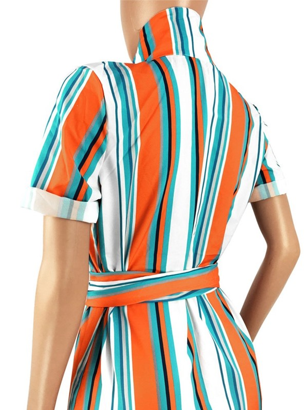 Color Block Stripe Long Women's Blouse