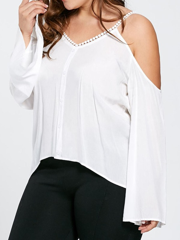 Plus Size Flare Sleeve Plain Women's Blouse