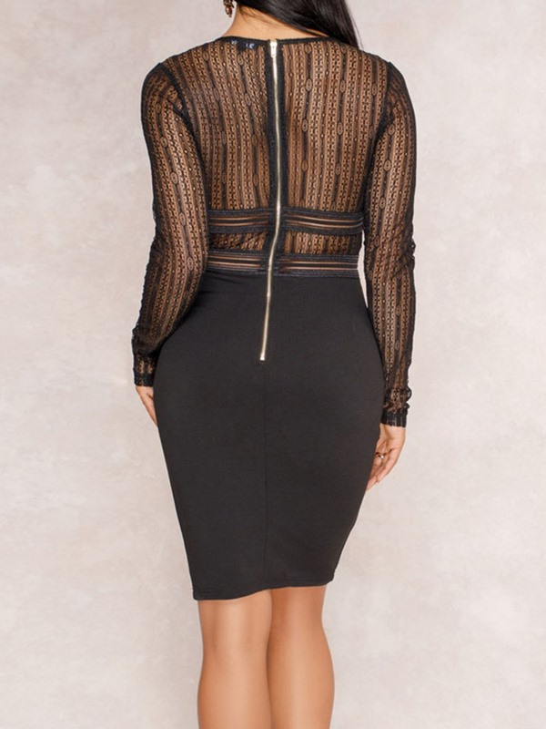 See-Through Above Knee Mid Waist Women's Bodycon Dress