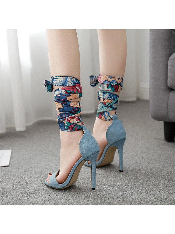 Stiletto Heel Heel Covering Lace-Up Floral Sandals