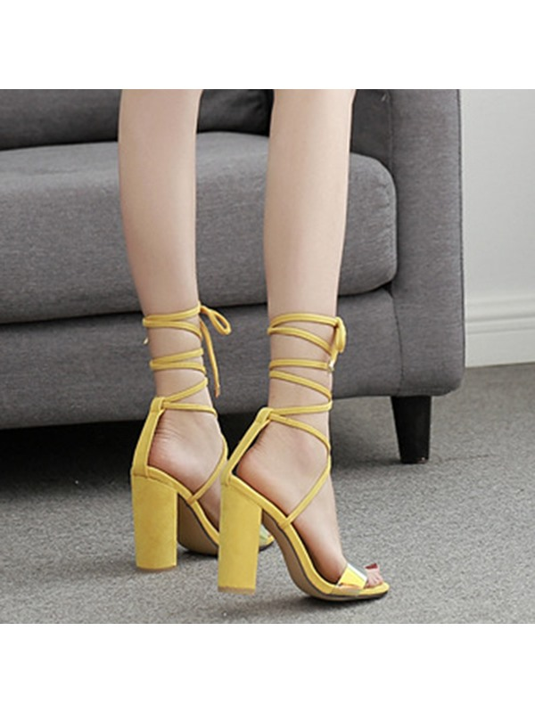 Chunky Heel Lace-Up Open Toe Plain Women's Sandals