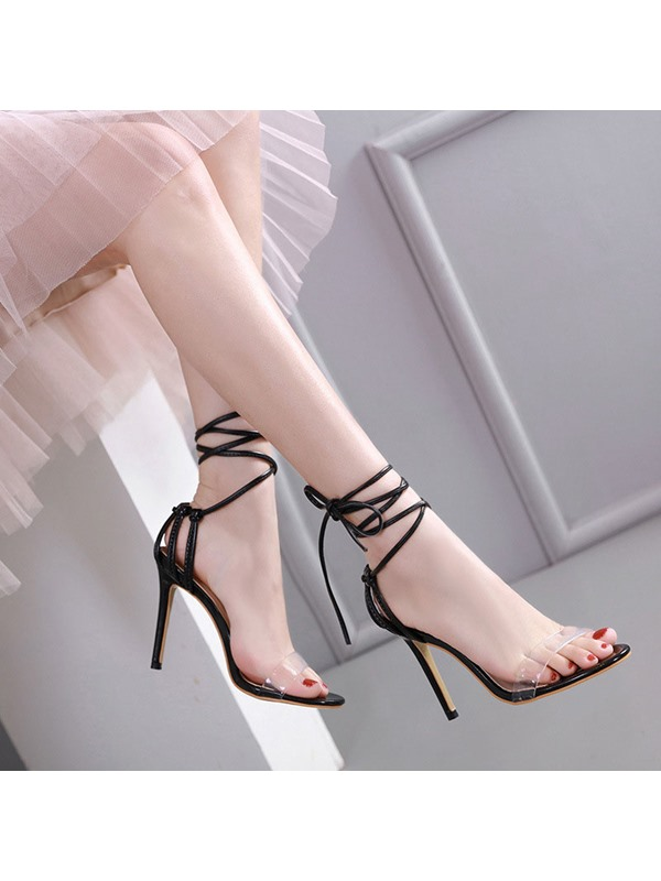 Heel Covering Stiletto Heel Lace-Up Hollow Sandals
