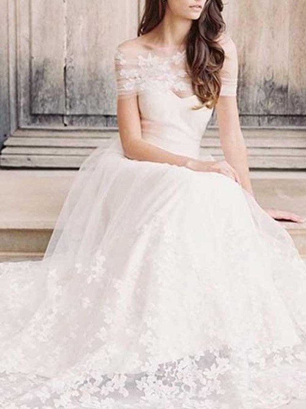 Off-The-Shoulder Sweep A-Line Cap Sleeves Hall Wedding Dress 2019