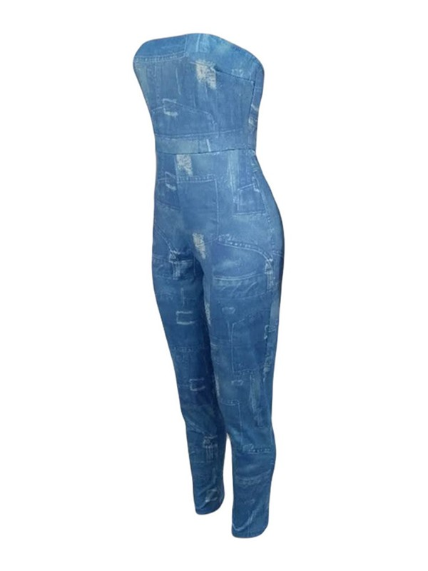 Ankle Length Office Lady Print Skinny Women's Jumpsuit
