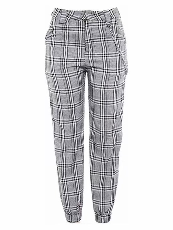 Plaid Slim Print Ankle Length Women's Casual Pants
