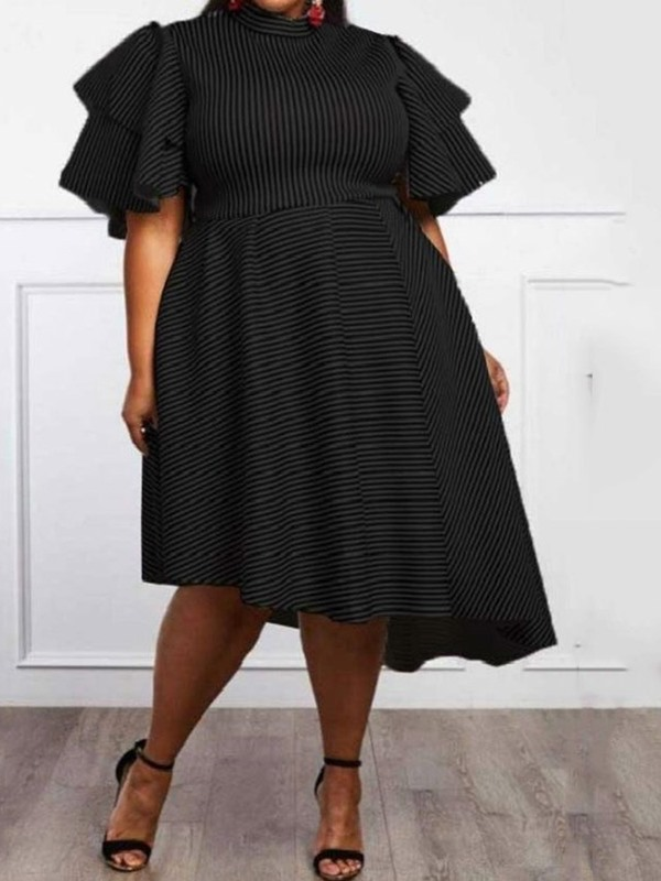 Plus Size Asymmetric Stand Collar Ruffle Sleeve Women's Dress