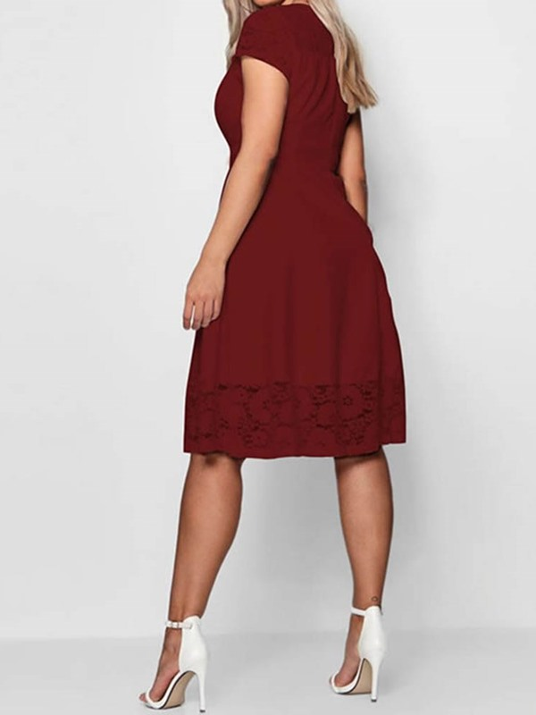 Plus Size Hollow Knee-Length Plain Women's A-Line Dress