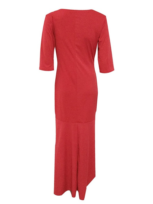 Diamond Round Neck Ankle-Length Plus Size Women's Dress