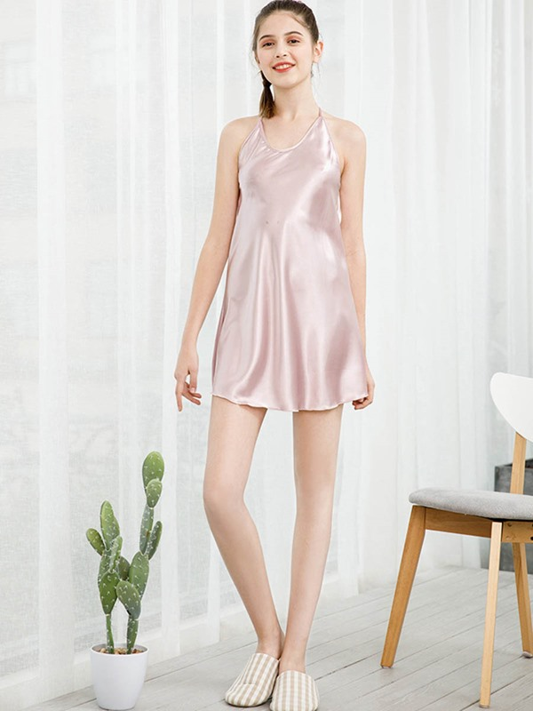 Plain Backless Women's Nightgown