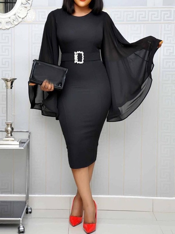 Without Belt Mid-Calf See-Through Flare Sleeve Women's Bodycon Dress