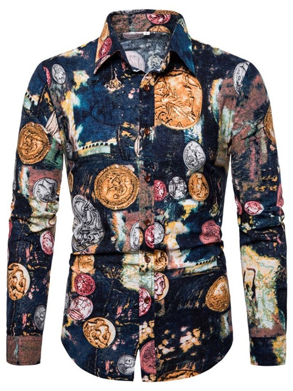 Color Block Unique Print Button Men's Shirt