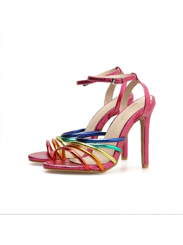 Open Toe Ankle Strap Buckle Patchwork Sandals