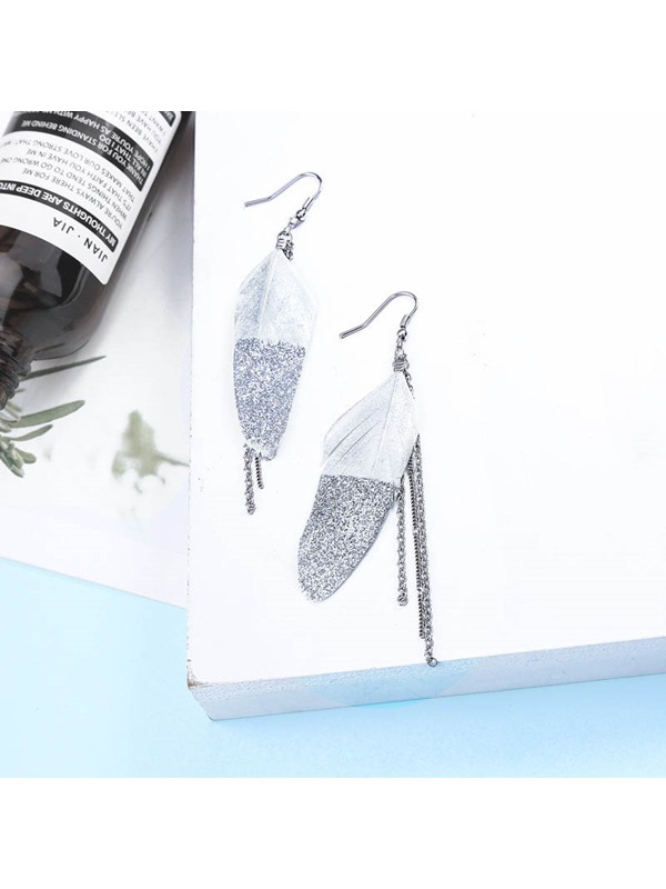 Leaf Alloy Feather Gift Earrings