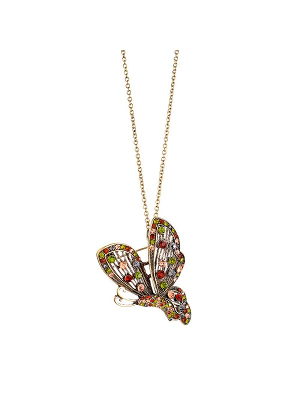 Animal Sweet Diamante Butterfly Necklaces
