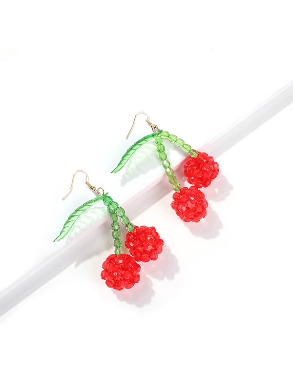 Cherry Plant Plastic Party Earrings
