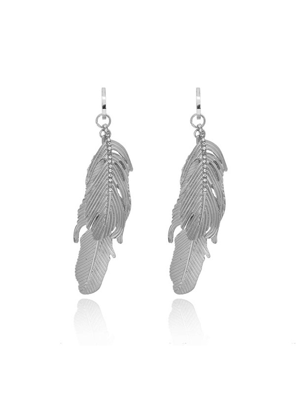 Sweet E-Plating Alloy Feather Earrings