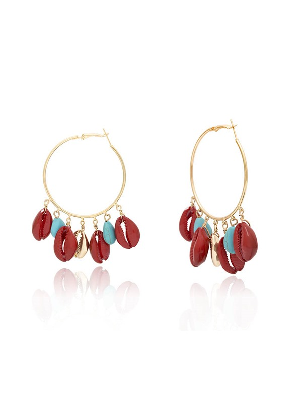 Bronze E-Plating Color Block Anniversary Earrings