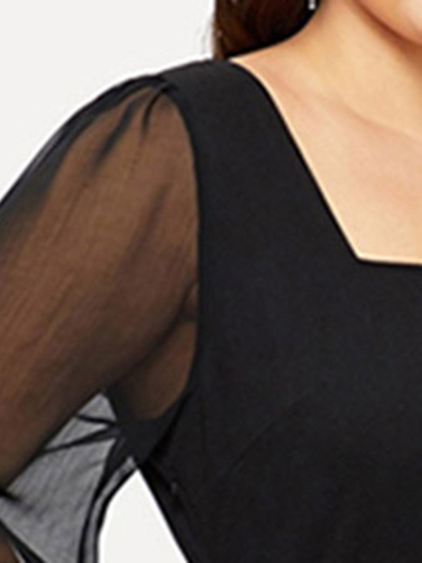 Plus Size Square Neck See-Through Long Sleeve Women's Casual Dress