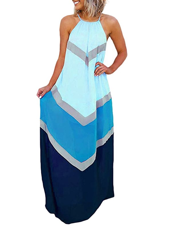 Round Neck Patchwork Sleeveless Color Block Women's Dress