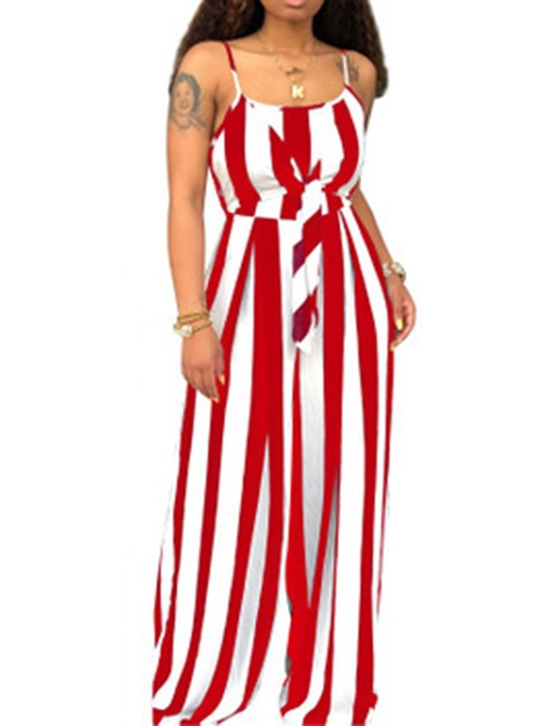 Strap Stripe Slim Women's Jumpsuit