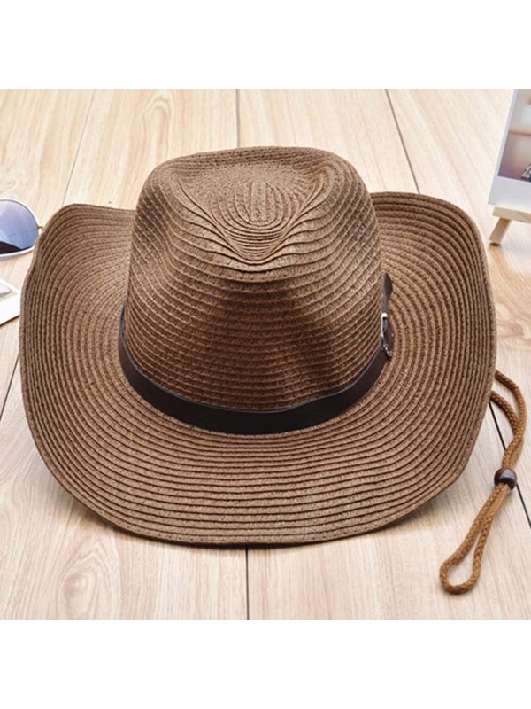 Cowboy Hat Casual Straw Plaited Article Plain Hat For Women