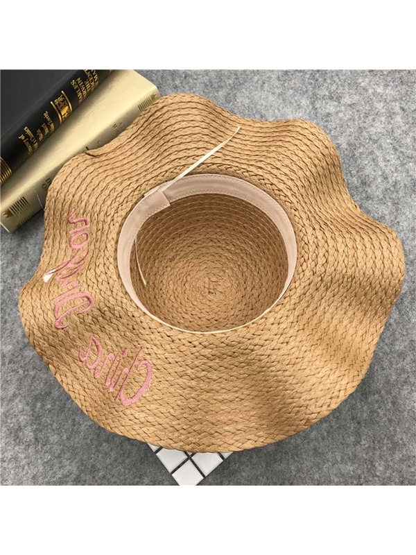 Straw Plaited Article Straw Hat Bowknot Fall Hat For Women