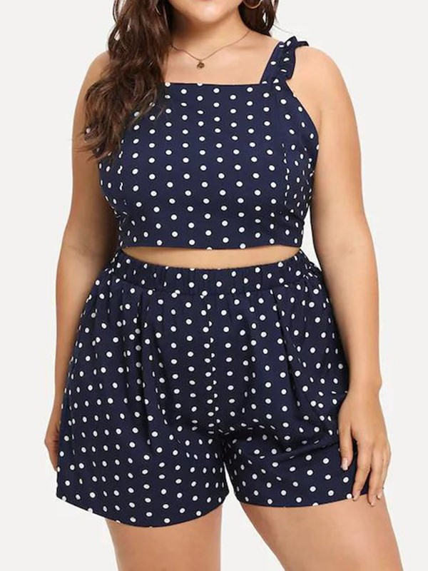 Shorts Print Plus Size Office Lady Pullover Women's Two Piece Sets