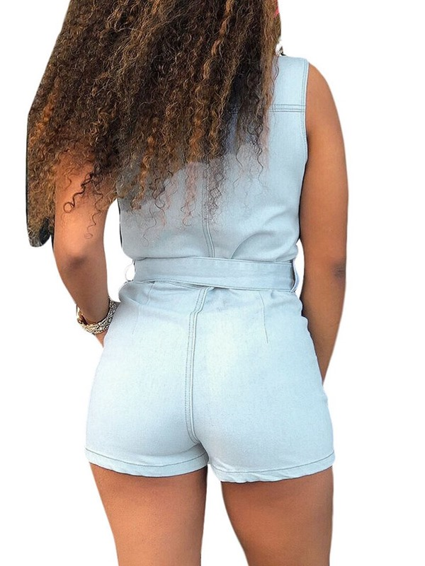 Plain Shorts Casual Slim Women's Jumpsuit