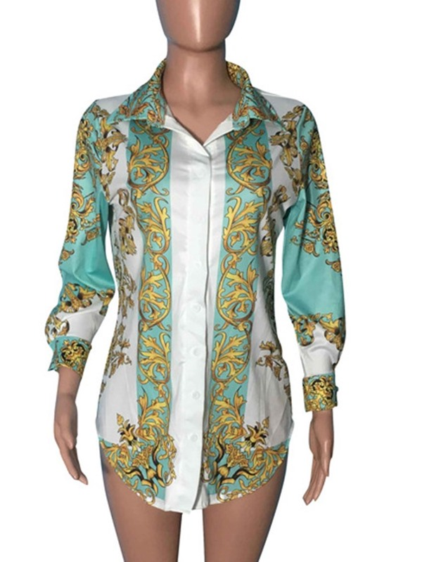 African Fashion Floral Print Lapel Women's Blouse