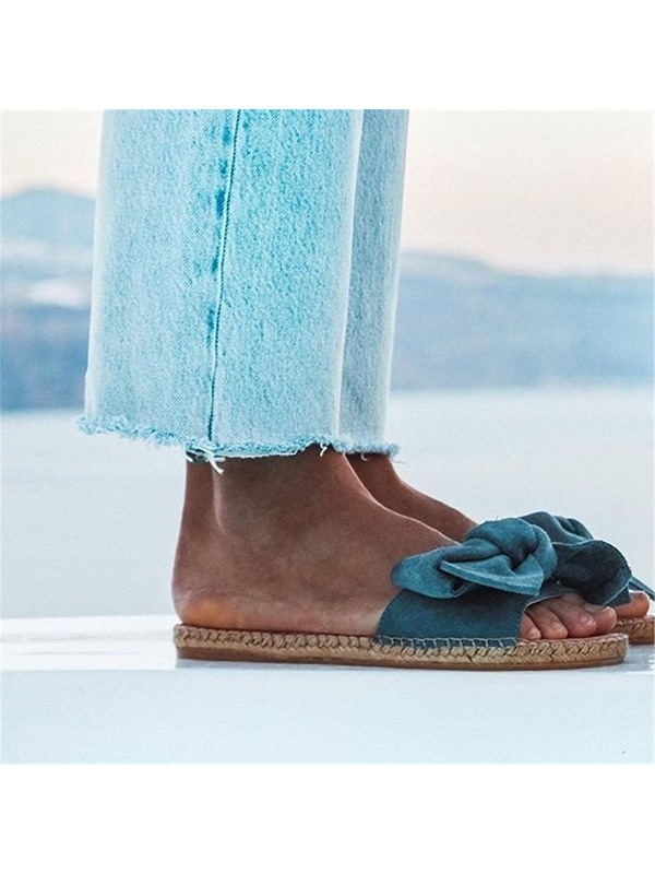 Bow Flat With Slip-On Plain Slippers