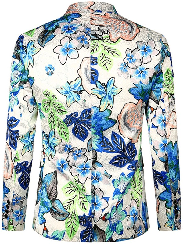 Color Block Floral Notched Lapel Men's Blazer