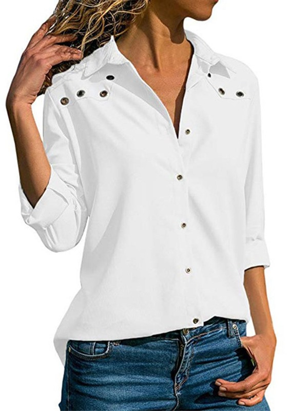 Plain Lapel Nine Points Sleeve Loose Women's Blouse