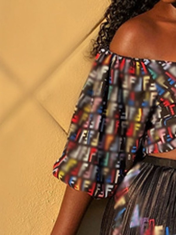 Print Pleated Off Shoulder Women's Two Piece Sets