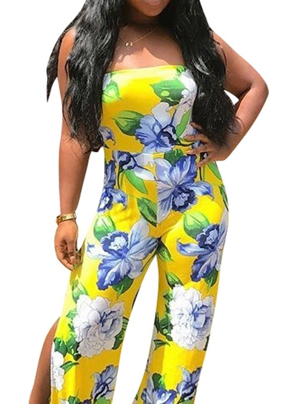 Print Full Length Floral Slim Women's Jumpsuit