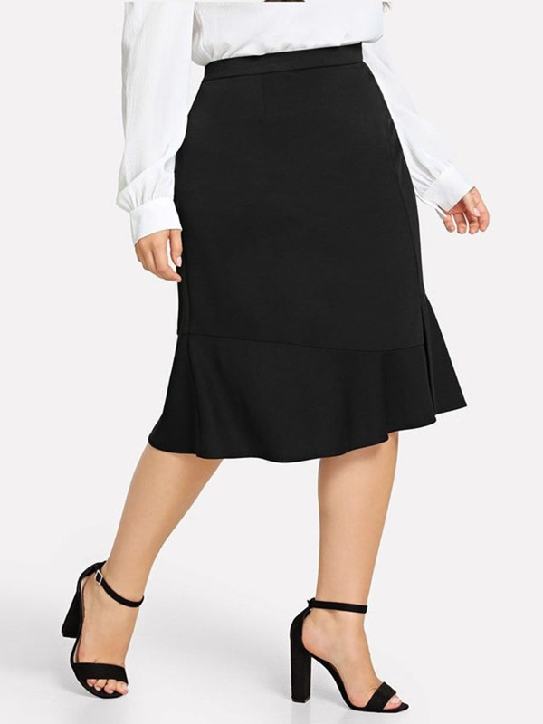 A-Line Plain Knee-Length Plus Size Women's Skirt