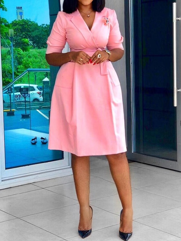Without Brooch Notched Lapel Knee-Length A-Line Office Lady Women's Dress