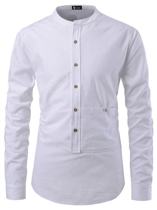 Plain Stand Collar Button Casual Men's Shirt