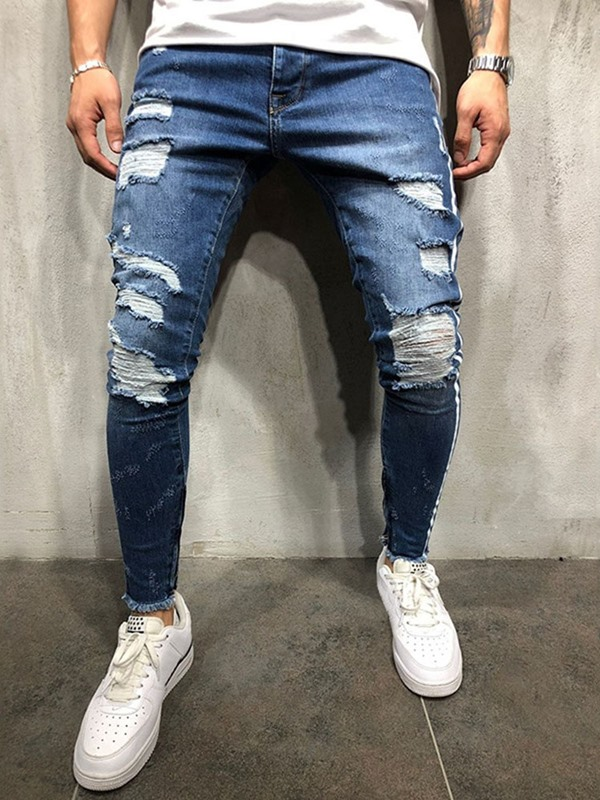 Hole Worn Patchwork Men's Jeans