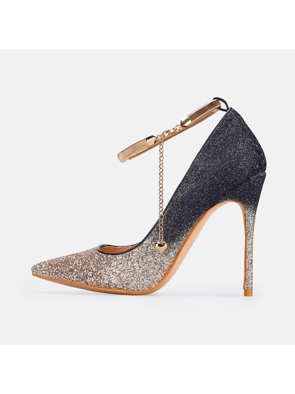 Stiletto Heel Sequin Pointed Toe Gradient Prom Shoes