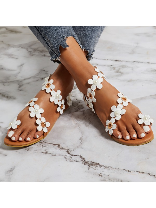 Strappy Toe Ring 3D Appliques Women's Sandals