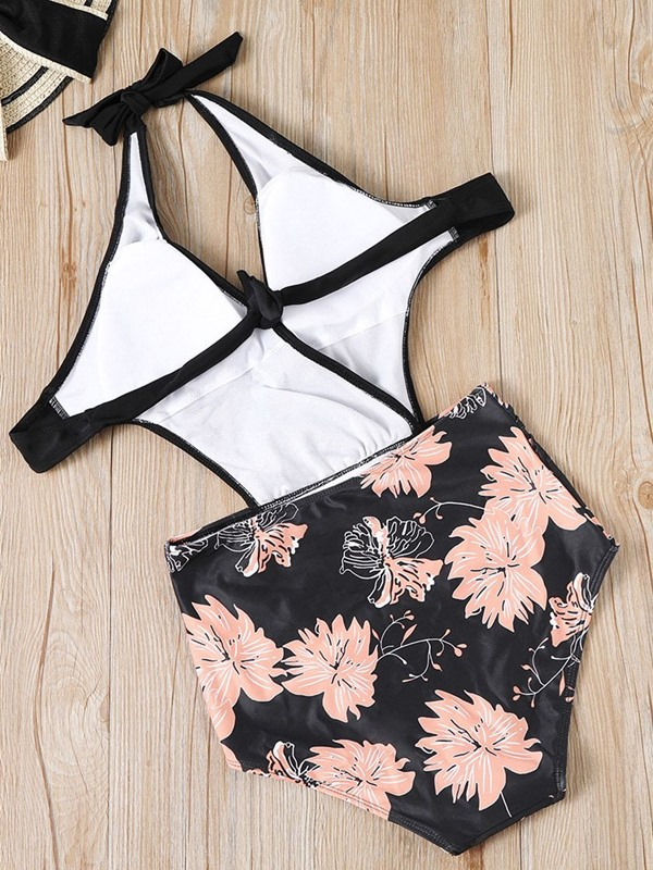 Lace-Up V-Neck Floral One Piece Swimwear