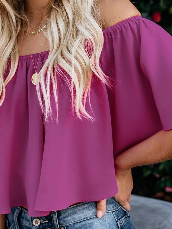 Pleated Flare Sleeve Off Shoulder Short Women's Blouse
