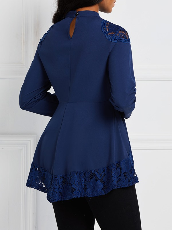Plain Lace Stand Collar Pleated Long Sleeve Women's Blouse