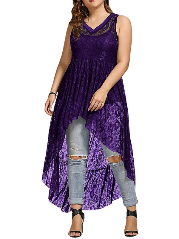 Plus Size Summer Lace Long Sleeveless Women's Tank Top