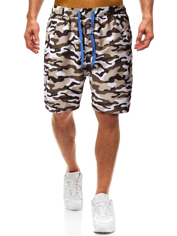 Camouflage Straight Lace-Up Men's Casual Shorts